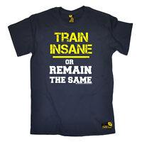 Gym Bodybuilding T-Shirt Funny Novelty Mens tee TShirt - Train Insane Remain The