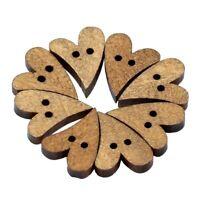 100pzs Boton de forma del corazon de costura de madera marron precioso de 2 C6F9