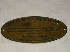 GREAT WESTERN RAILWAY Collectable Brass Grease These Nipples Thoroughly Plaque