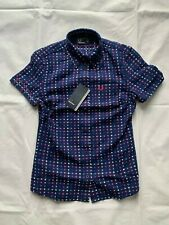 FRED PERRY G7791 FRENCH NAVY MULTI GINGHAM POLO T-SHIRT SIZE 8 UK
