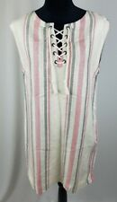 Cupcakes and Cashmere women S dress reed cap sleeve front lace-up striped linen