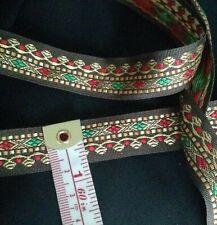 "Brown Red Gold Green JACQUARD Embroidered Trim Ribbon Lace Sari Border 3/4"" US"