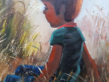 Öl Gemälde Portrait Junge Expressiv Kind Wald Künstlerarbeit