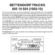 Micro-Trains 00310024 - Bettendorf Trucks With Long Extension Couplers (1002-...