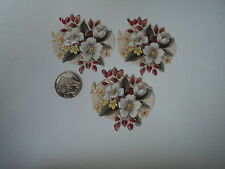 PK 6 ANITA'S WHITE CHRISTMAS FLOWERS EMBELLISHMENT TOPPERS FOR CARDS OR CRAFTS