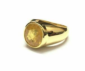 14K Yellow Gold yellow Sapphire Men's Ring sapphire men ring 14k Solid gold ring