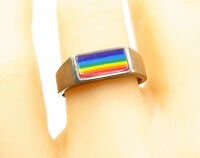 925 Sterling Silver - Vintage Enamel Coated Rainbow Band Ring Sz 10 - R13636