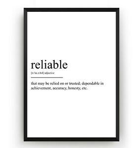 Reliable Definition Print V2 - Office Poster Wall Art Decor Room Gift - Unframed