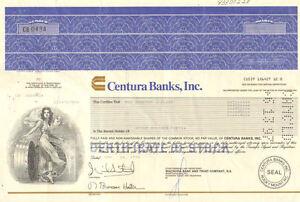 Centura Banks, Inc. > 1990 North Carolina stock certificate