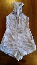 Women's Grey Quality crochet playsuit, lined sz8 BNWOT free post E24,e78