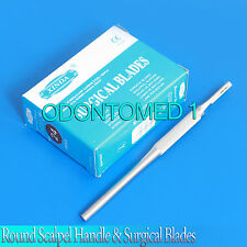 100 STERILE SURGICAL BLADES #22 #24 WITH FREE ROUND SCALPEL KNIFE HANDLE #4