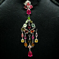 NATURAL FANCY COLOR TOURMALINE & PINK RUBY PENDANT 925 STERLING SILVER