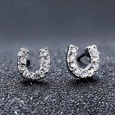 "Wedding Fashion Jewelry Horseshoe ""U"" shape Crystal Earring Ear Stud Silver Prom"