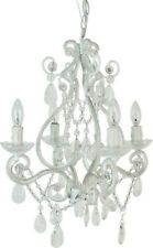 Mini Chandelier 4-Light Single Tier Candle-Style Plug-in Connection White Finish