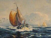 A. RIEDEL signiert - Aquarell 1945: FISCHERBOOTE, SEGELBOOTE BEI RAUER NORDSEE