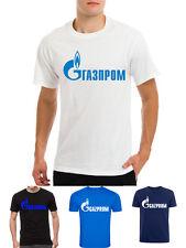 GAZPROM logo Vladimir Putin Russia Russian mens Latin Cyrylic t-shirt