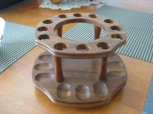 Vintage Wood Rotating Pipe Stand Holder Holds 12 Pipes Cutout for Tobacco Jar