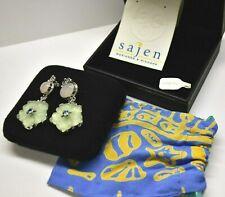 💎CHANKY designer SAJEN rare 925 Silver earrings FLOWER Rose Quartz Gemstone