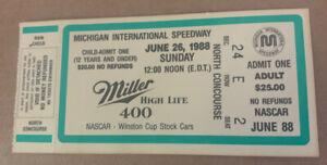NASCAR 1988 Miller 400 ticket stub Rusty Wallace 6th win