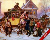AN AMERICAN CHRISTMAS VINTAGE SCENE OIL PAINTING ART REAL CANVAS GICLEE PRINT