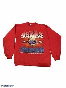 Rare 1994 Vintage NFL Red 49ERS NFC Super Bowl Champ XXIX Crewneck Sweater Sz M