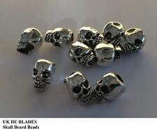 2 skull beard beads UK DE BLADES (oil wax gift balm Birthday beads metal A10
