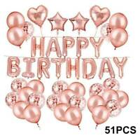51pcs Rose Gold Foil And Latex Balloons Sets Helium Wedding Birthday Party Decor