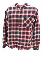 Woolrich Cotton Long Sleeve Logger Red / Black Plaid Button Up Shirt Men's XL