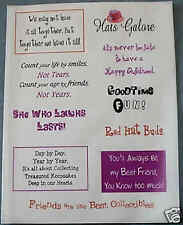 Scrapbook Words/Phrases on Vellum Paper RED HAT SOCIETY BUDS 2 Sheets