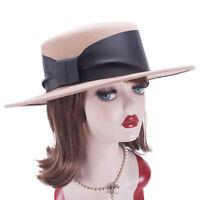 Womens Round Flat Top Wool Felt Porkpie Fedora Boater Wide Brim Bolero Hat T405