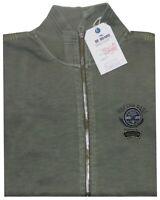 MAGLIA FELPA UOMO M L XL XXL 3XL giacca zip verde tinta in capo  cotone Be Board