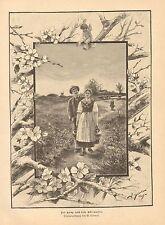 Spring, Romance, Walking With Water Jugs, Vintage 1893 German Antique Art Print