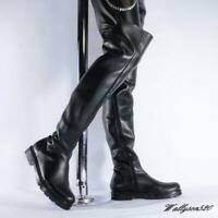 Mens Combat Zipper Black Motorcycle Winter Shoes Punk Over the knee Thigh Boots