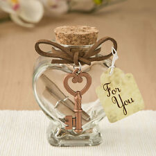 24 Heart Shaped Glass Message Jars w/ Copper Key Bridal Shower Wedding Favors