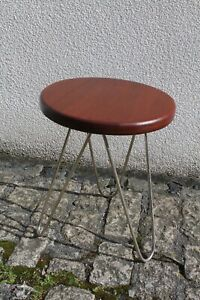 Vintage Reconditioned Metal Legged Stool Coffee Occasional Table 33cm Dia 41cm T