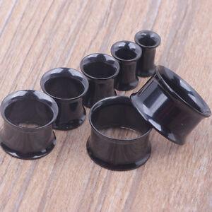 BLACK Double Flared Steel Ear Flesh Tunnels Piercing Stretchers Plugs TU72