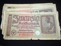 WW2 GERMAN BANKNOTE 20 REICHSMARK REICHSKREDITKASSENSCHEIN 1939