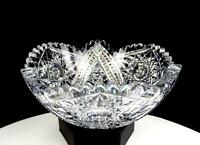 "LIBBEY SIGNED ABP BRILLIANT PERIOD CUT CRYSTAL HOBSTAR SAWTOOTH 6 7/8"" BOWL 1901"