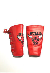 Bulls Red 2 Pieces Genuine Real Leather Gauntlet Cuff Wristband Arm Band 01 Pair