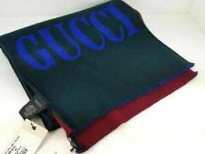 New Gucci Men's Stole Non GG Green/Red Gu Gufront Scarf 35X180 wool 525559