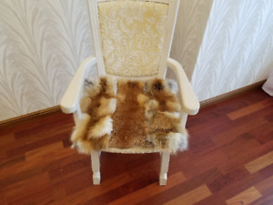 Fur mat for the chair, chair pad, red fox rug, Fur rug, red fox Rug Chair covers