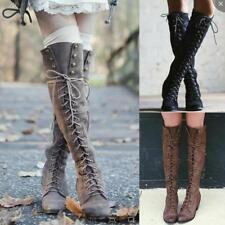 Long Boots Women Motorcycle Lace up Knee High Rivet Combat Riding Shoes Hot