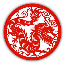 "Dragon Chinese Emblem Car Bumper Sticker Decal 5"" x 5"""