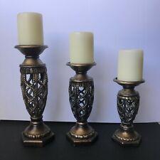 Traditional Decorative Brown Bronze Pillar Resin Candleholders, Set of 3