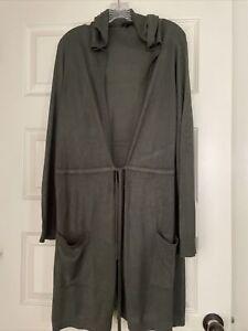 Torrid Woman's Hooded Long Sleeve Green Cardigan Duster Sweater Size 2