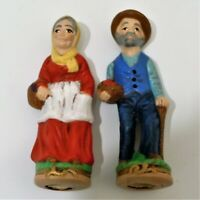 Ceramic Figurines Old Couple Man And Woman Carrying Fruit Baskets EUC