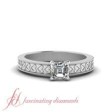 Solitaire Engraved Milgrain Engagement Ring With Asscher Cut Diamond 1/2 Carat