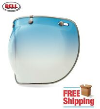BELL CUSTOM 500 R/T SHORTY ICE BLUE GRADIENT DELUXE BUBBLE FACE SHIELD CHROME