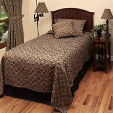 New Primitive Colonial Black Tan LOVER'S KNOT COVERLET Bedspread Cover QUEEN