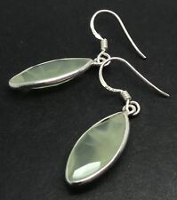 Prehnite marquise large drop earrings solid Sterling Silver, faceted actual ones